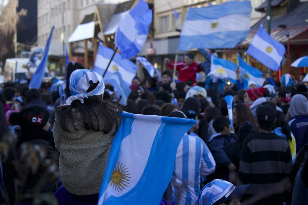 Festival in Argentina with flags.