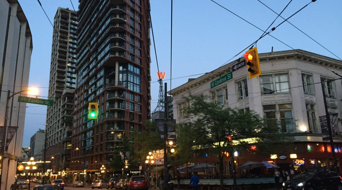 Gastown intersection in Vancouver, street corner