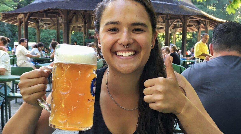 Antonia drinking beer for Oktoberfest