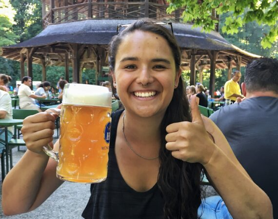 Antonia drinking beer for Oktoberfest