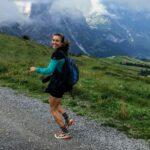 Girl running and hiking