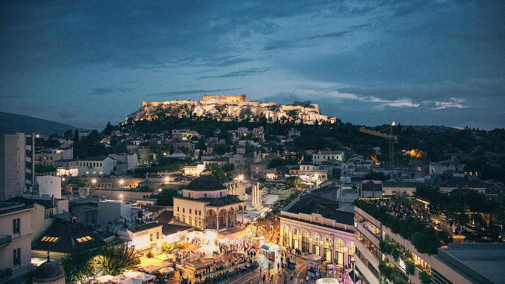 Athens at dusk and city lights