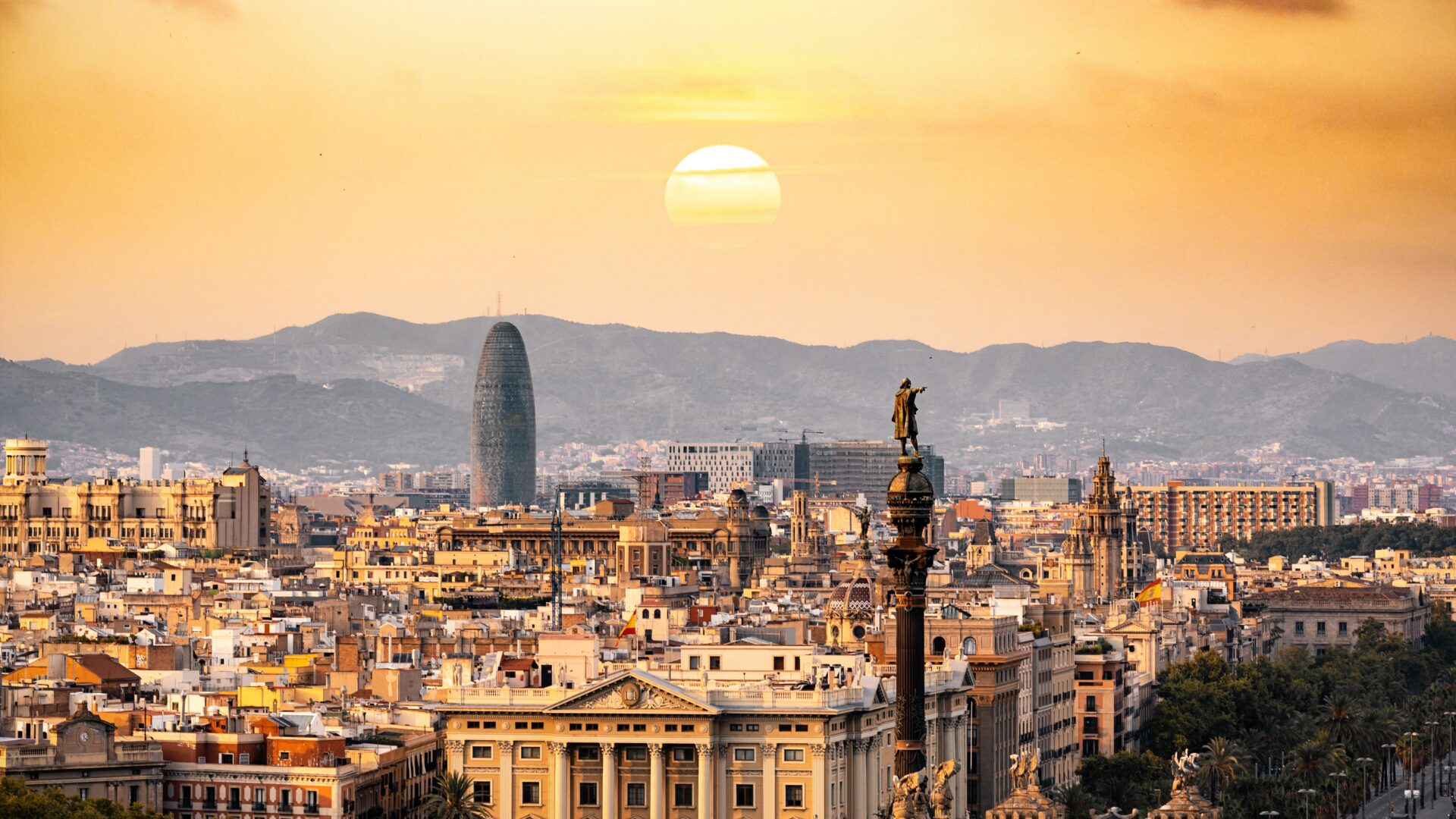 Barcelona city skyline at sunset