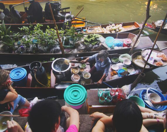Streetfood near the river in boats