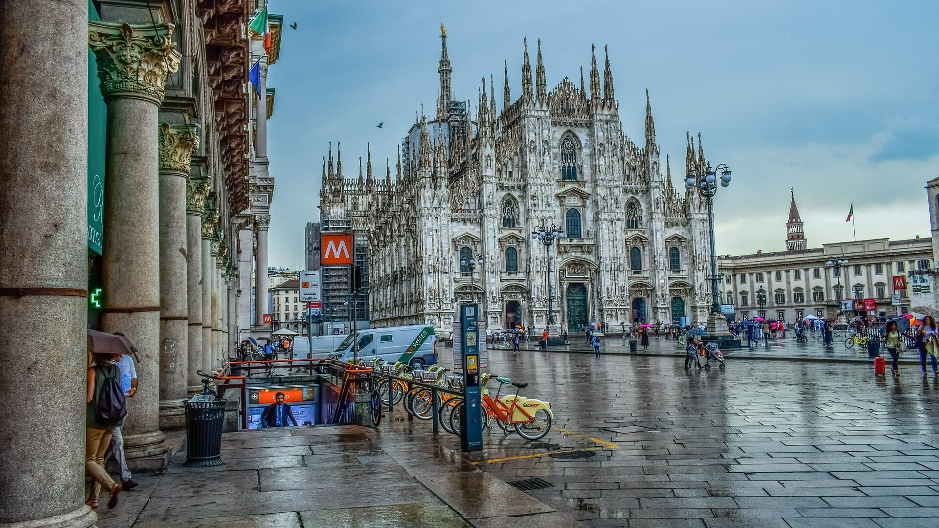 Milan beautiful cathedral cloudy day
