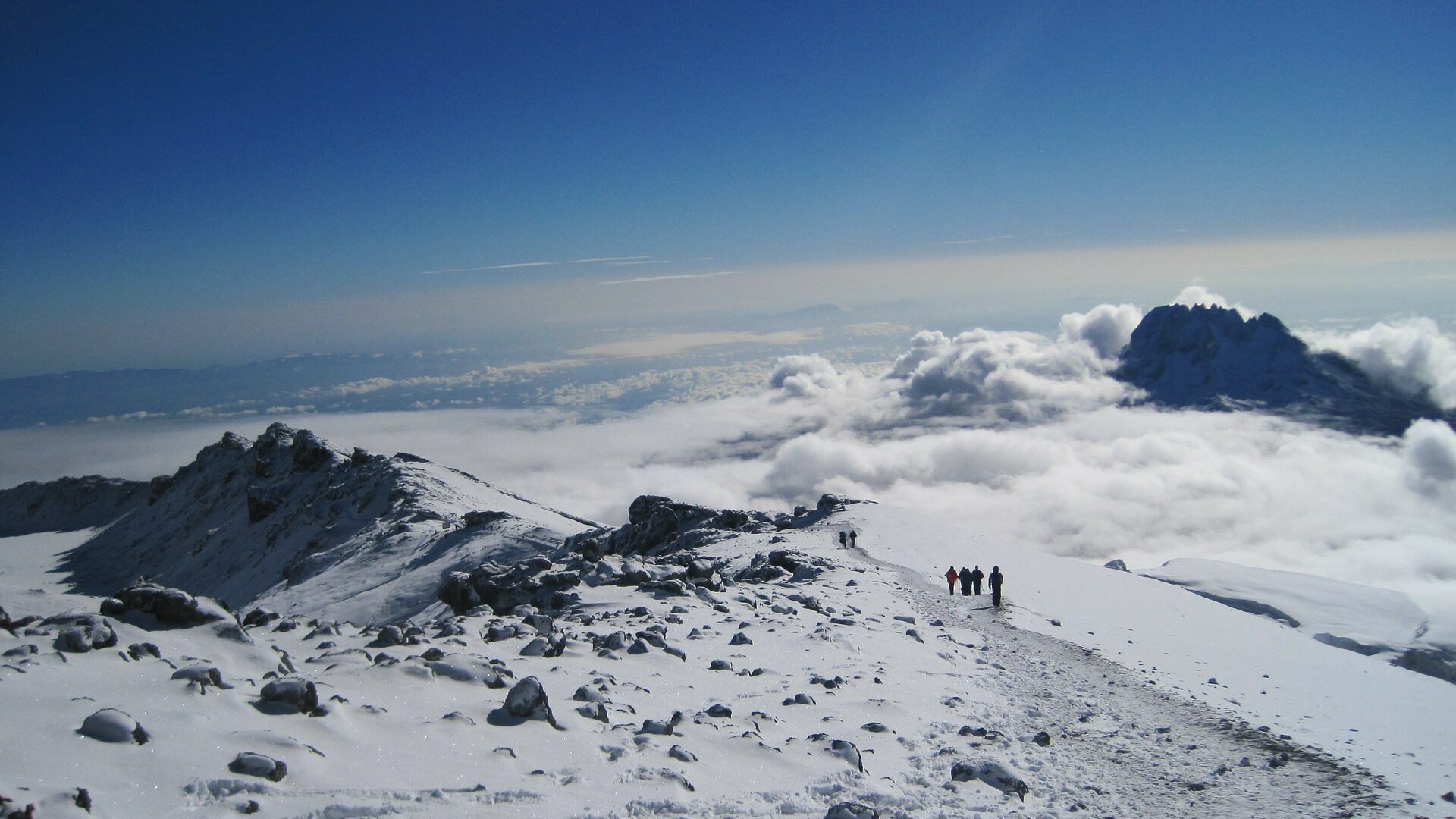 Top of mountain Kilimanjaro snowy