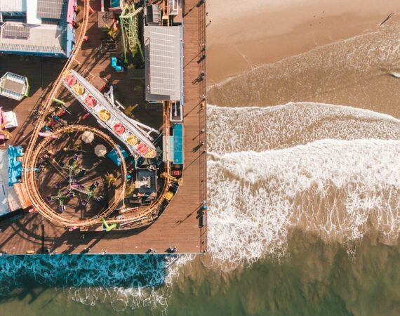 Overhead picture of Santa Monica Pier.