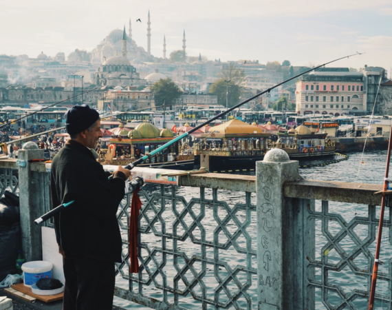 Man fishing in Istanbul, Turkey