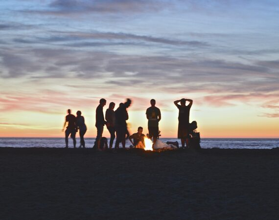 beach bonfire at sunset