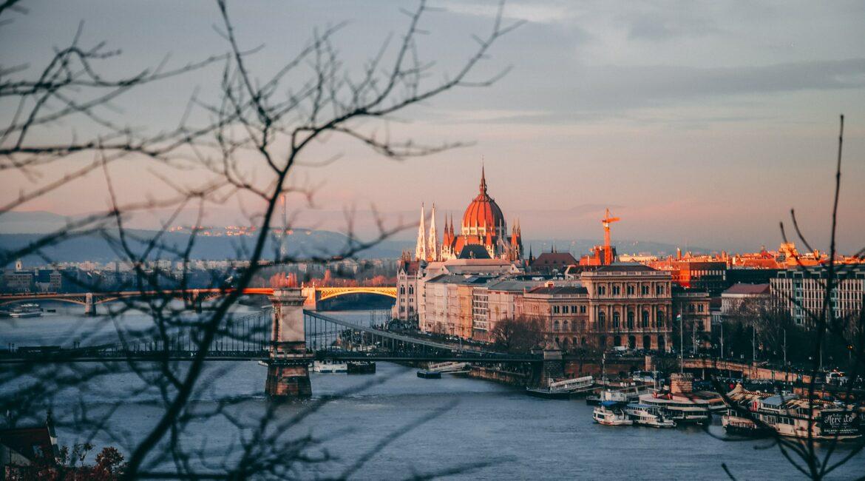 Beautiful sunset in European city