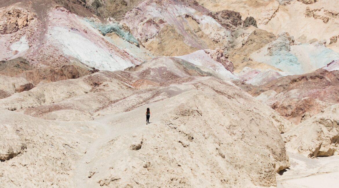 person running in death valley