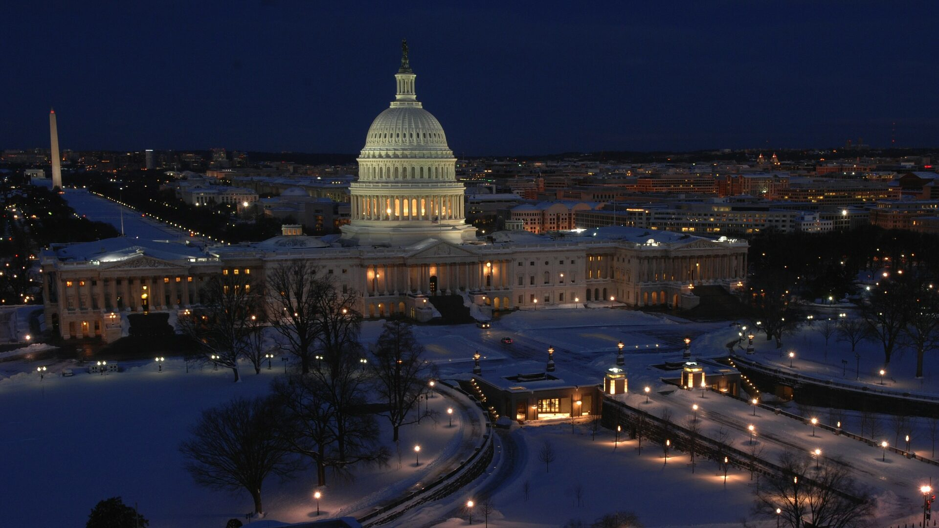 Snowy capital hill