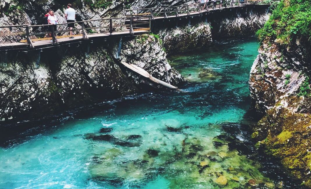 Beautiful clear blue water in Slovenia