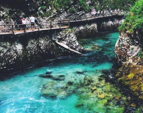 Beautiful clear blue water in Slovenia