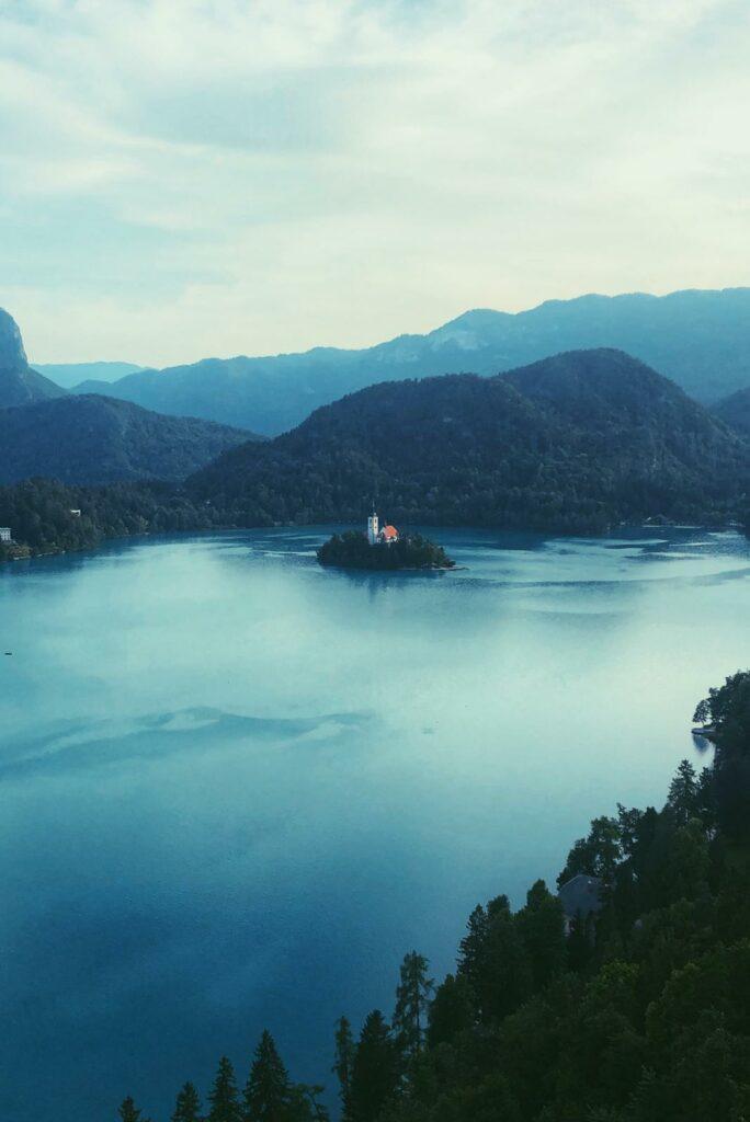 Beautiful place lake church in Slovenia