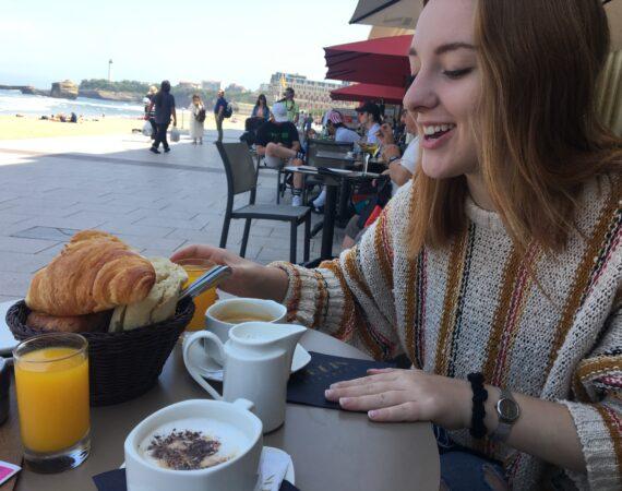 Girl, Jessica Moore, drinking orange juice