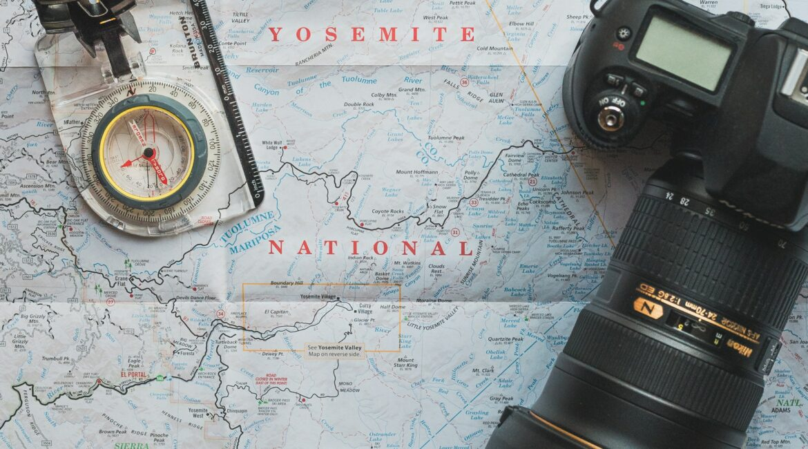 Yosemite national park map and camera
