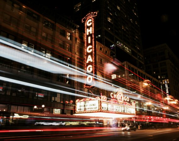 The Chicago Theater at night