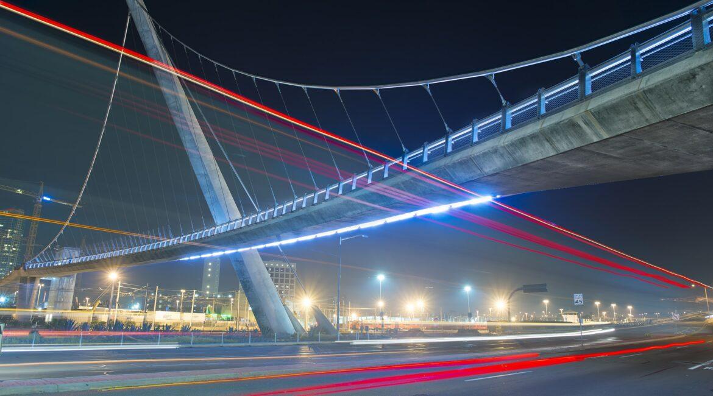 San Diego bridge at night