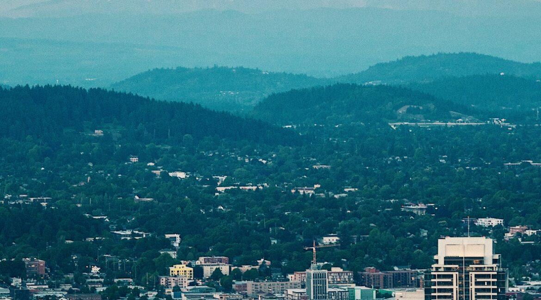 Portland skyline and mountain