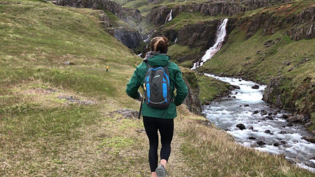 Marissa Saenger running through Iceland in the Suzuki midnight marathon